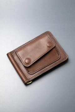 【18AW】レザーマネークリップ+コイン [ブラウン] / LEATHER MONEY CLIP+COIN [BROWN]