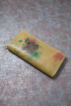 【19AW】ペイントレザーロングウォレット [グリーン] / PAINT LEATHER LONG WALLET [GREEN]