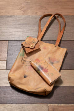 【19AW】ペイントレザーマーケットトートバッグ [ナチュラル] / PAINT LEATHER MARKET TOTEBAG [NATURAL]