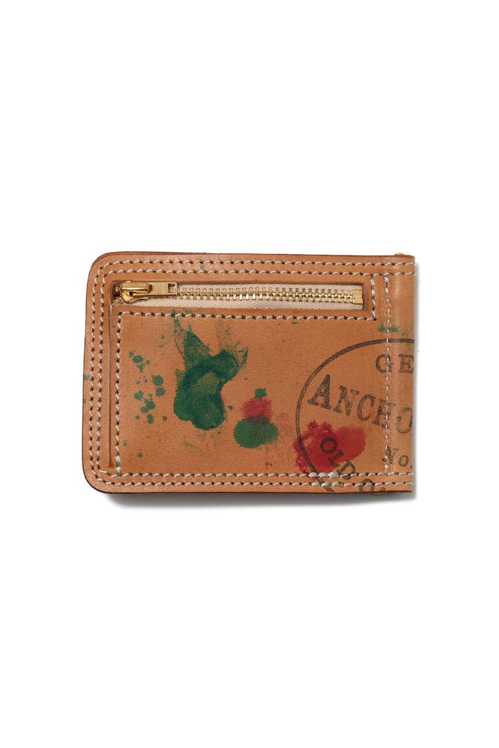 【19AW】ペイントレザーマネークリップ [ナチュラル] / PAINT LEATHER MONEY CLIP [NATURAL]