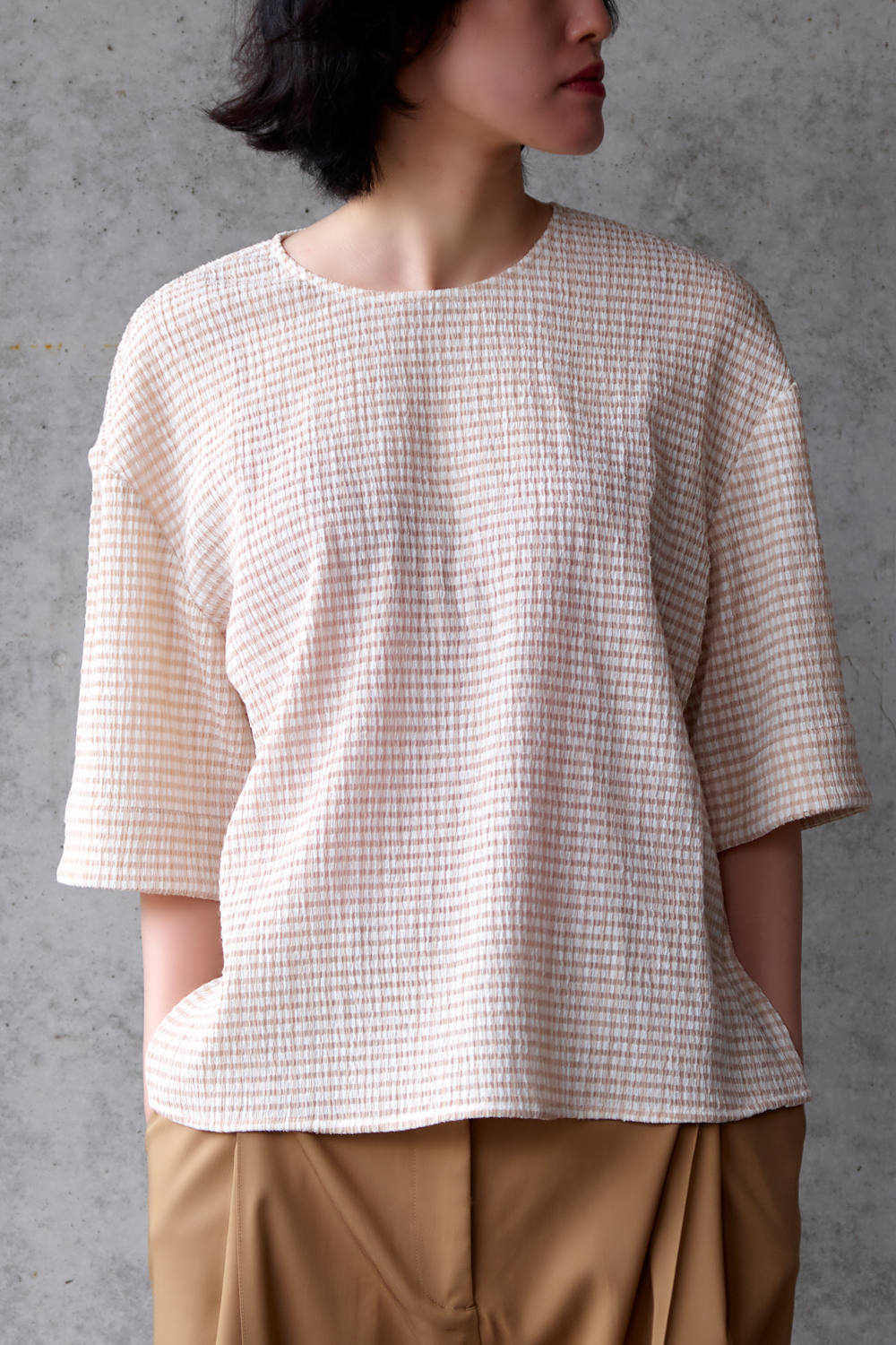 【20SS】BOXY T-SHIRT - ボクシーTシャツ [BEIGE WHITE CHECK]